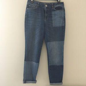 M&S Indigo boyfriend patchwork style jeans.